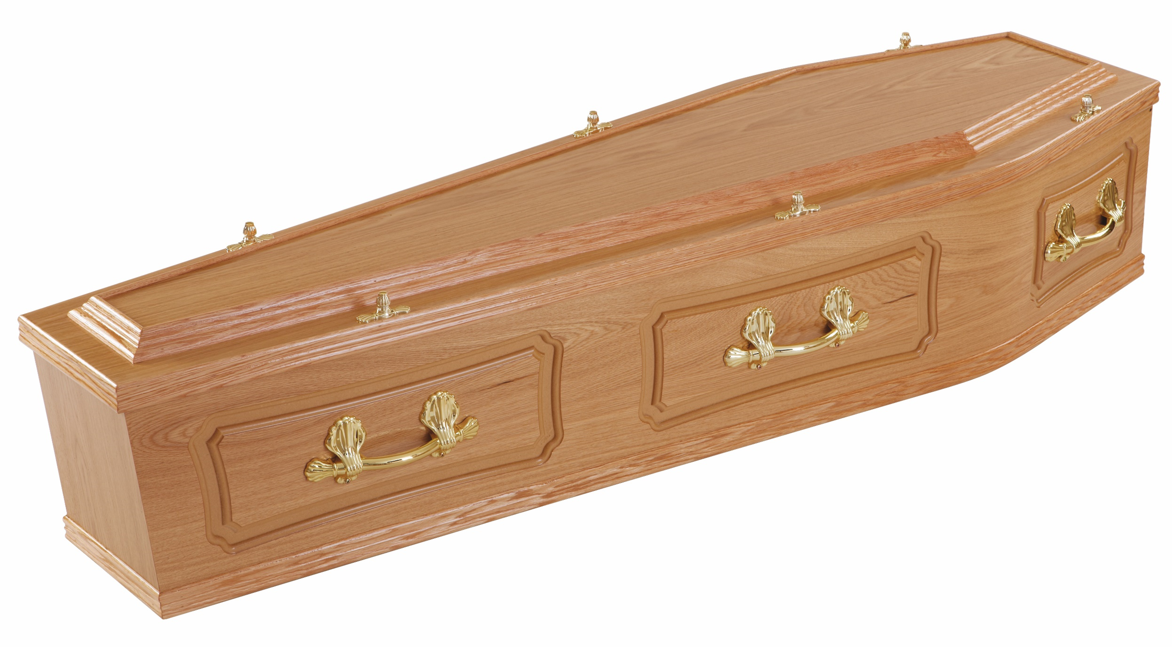 A high quality hand finished veneered Oak Coffin with raised top, panelled sides and traditional fittings.