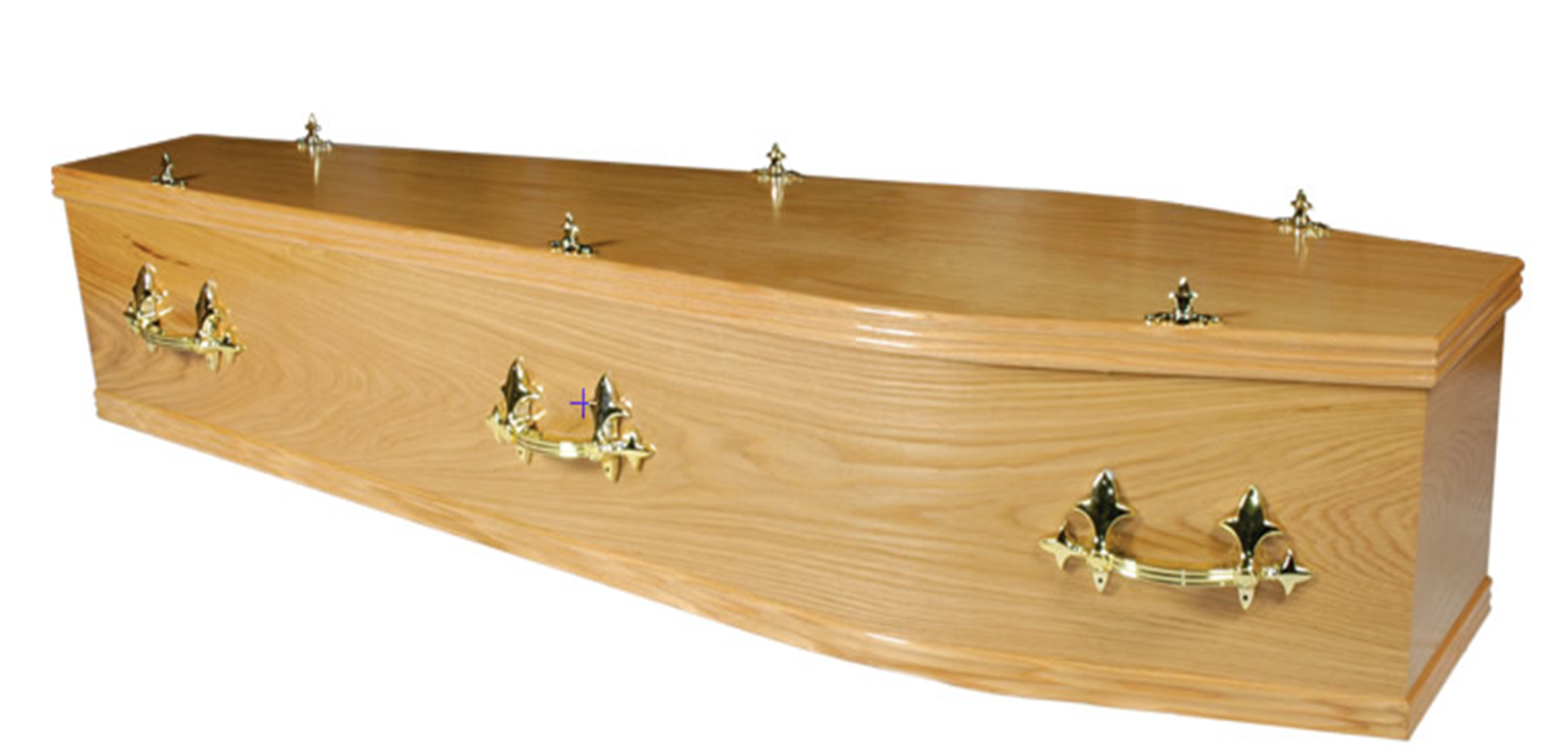 A high quality hand finished veneered Oak Coffin with traditional fittings.